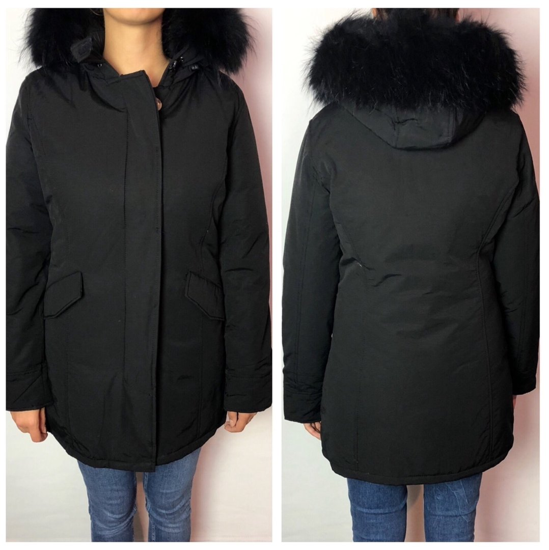 W Collection Parka Schwarzes Fell